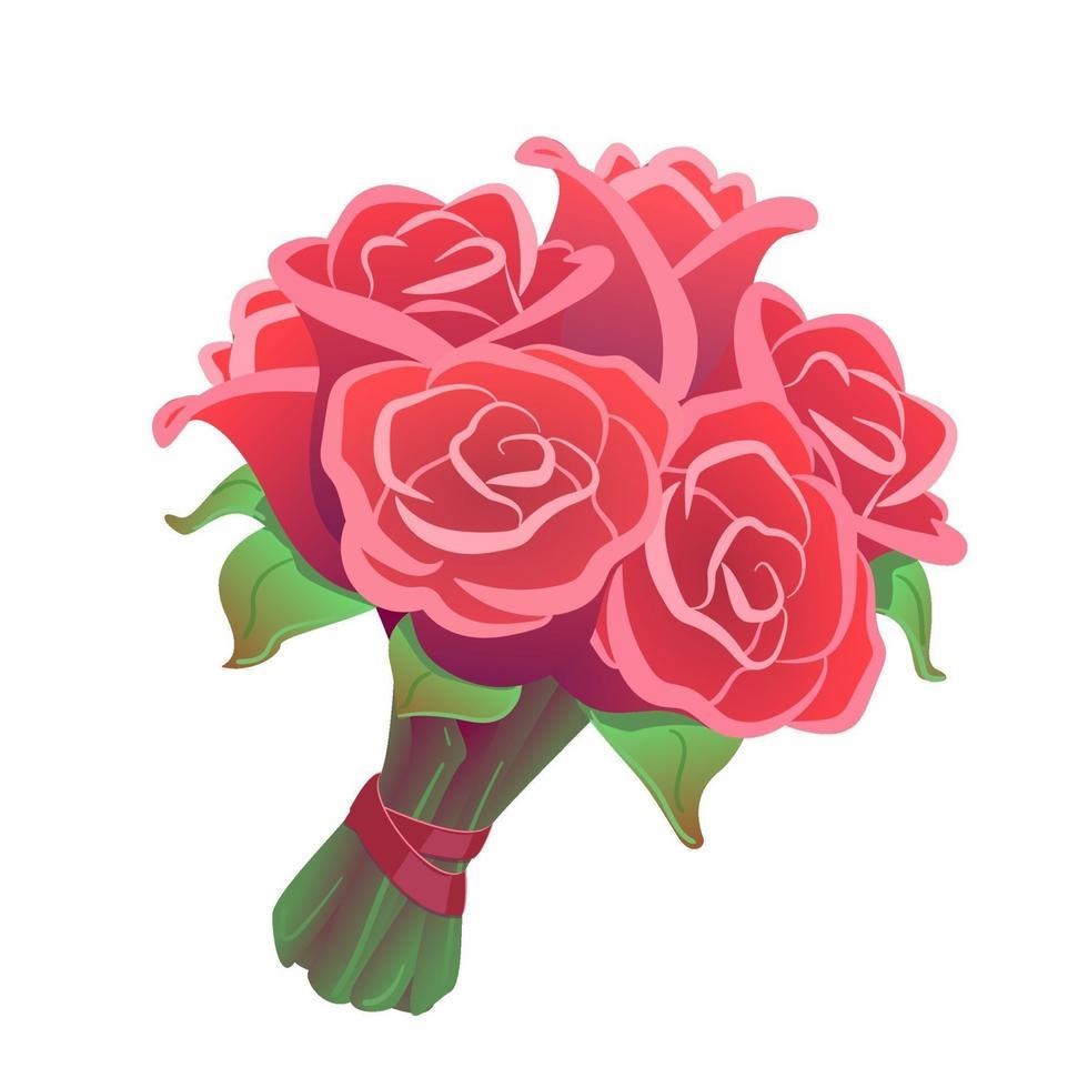 Rosenstrauß auf lokalisiertem weißem Hintergrund. Blumen Clipart für Datum, Feier, Valentinstag. romantische Hochzeitsgeschenkillustration. rosa, rosiger Bund mit rotem Band. Nahaufnahme Blumenzeichnung Vektor. vektor