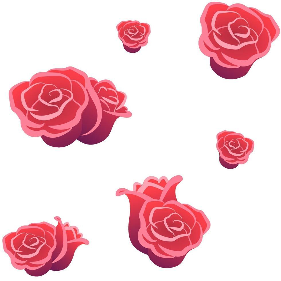 rosor sömlösa mönster på vit isolerad bakgrund. blommor bakgrund för tapet tyg kort täcker. romantisk symbol dekoration för alla hjärtans dag. platt vektor paketmall. älskar bröllopskoncept