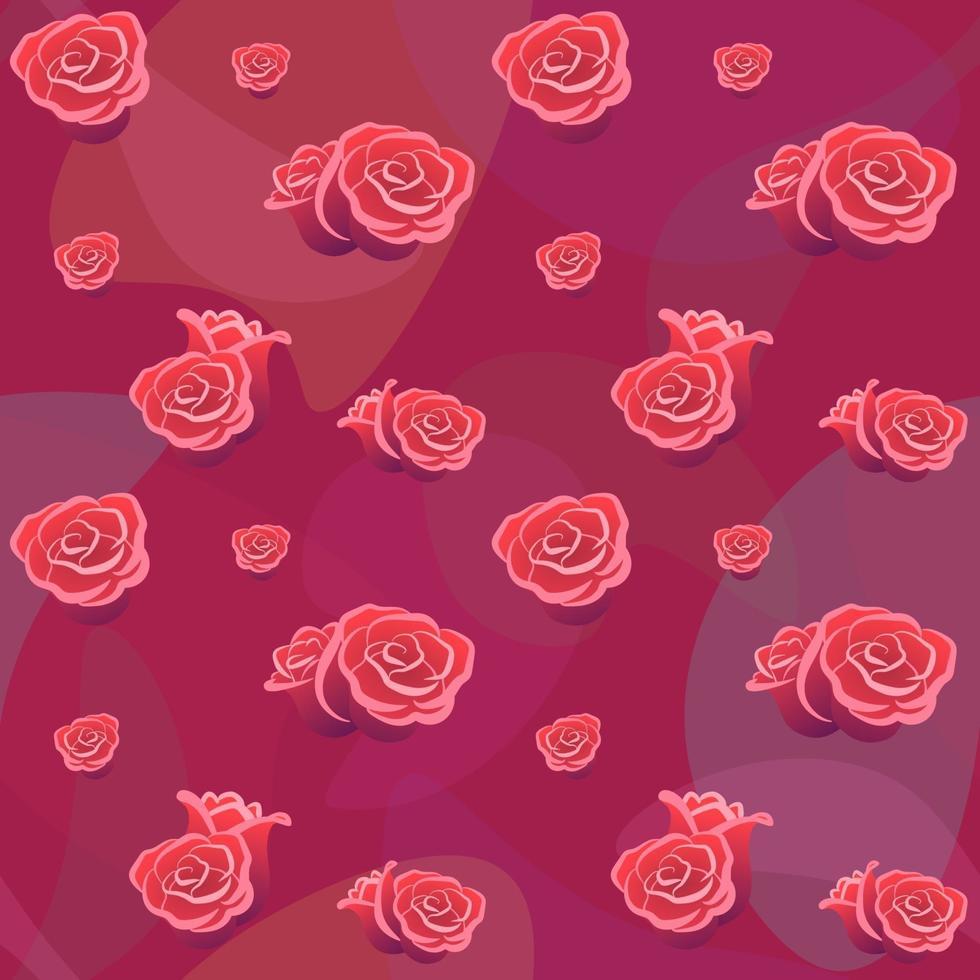 nahtloses Muster der Rosenknospen auf rotem Hintergrund. Blumenhintergrund für Tapetenstoffkartenabdeckung. romantische Symboldekoration Valentinstag. flache Vektor-Paketvorlage. Liebe Hochzeit Konzept Hintergrund vektor