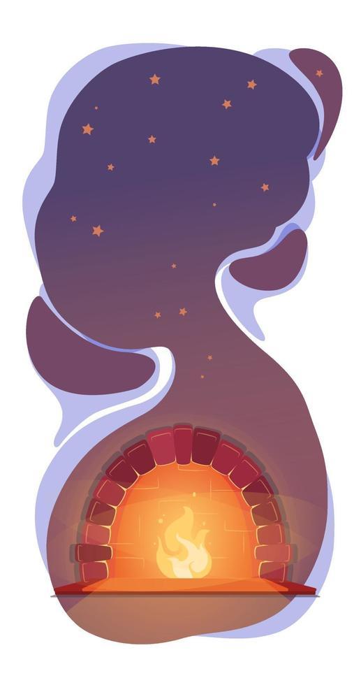 koppla av illustration med öppen spis under nattstjärnor. varm höstbakgrund. vektor kosmos vertikal banner. mysig kall säsong koncept. drömmer vilokväll. kopia utrymme mörk romantisk platt design.
