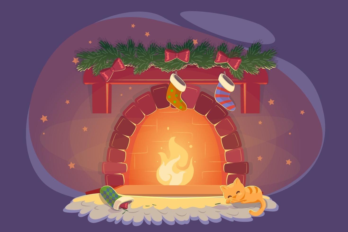 kort med xmas spis och sovande katt för fest dekoration design. lekfull kattunge nära jul eld med strumpor. nyår mysigt vinterrum, eve noel natt platt vektorillustration. vektor