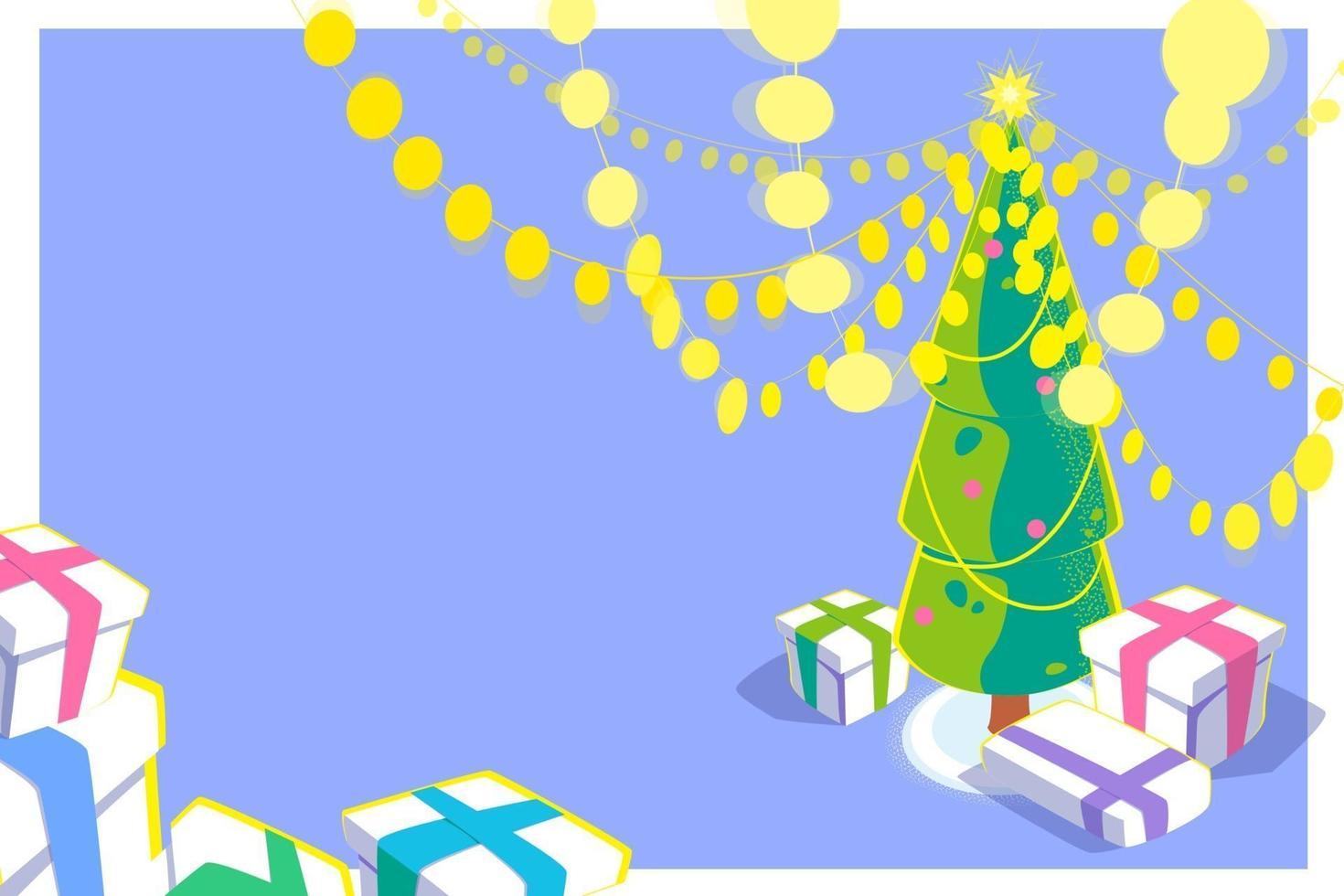 Weihnachtskarte mit 3D-Effekt. helle Girlande und Geschenkboxen unter dem Weihnachtsbaum. Ferienzeitillustration mit vielen gelben Lichtern. buntes Design der Wintersaison. Vektor flaches Konzept.
