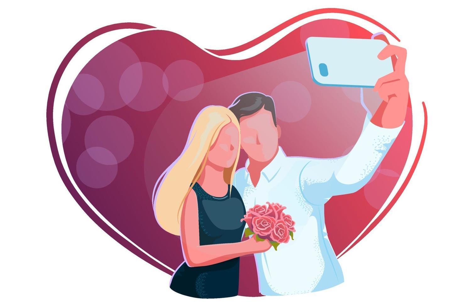 vackra unga par tar selfie på datum. Alla hjärtans dag, kille och flicka med rosor gör relfie på en röd bakgrund. kärlek, förlovning, bröllopskoncept. älskar hjärtat ram. romantisk firande design. vektor