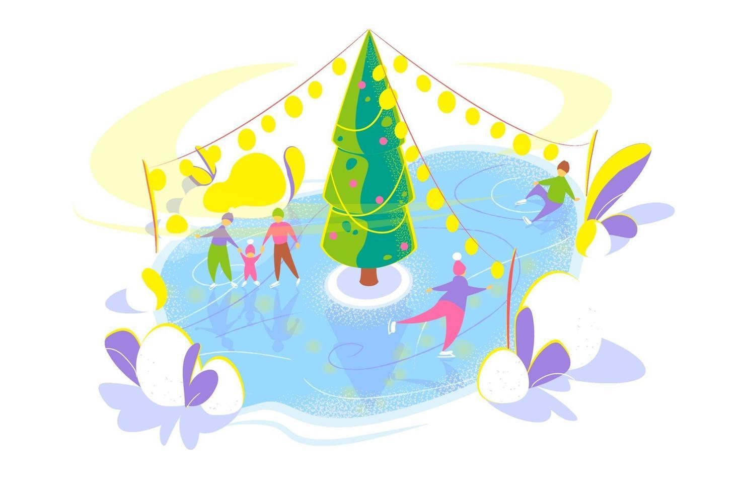 skridskoåkning människor på isbana med julgran. snöig vinter semester koncept. säsongsbetonad platt mall på vit bakgrund. julhelgkort. isolerad vektorillustration på vit bakgrund. vektor