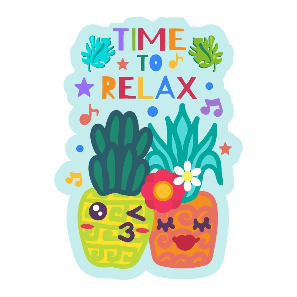 Zeit zum Entspannen niedlichen Aufkleber mit Ananas vektor