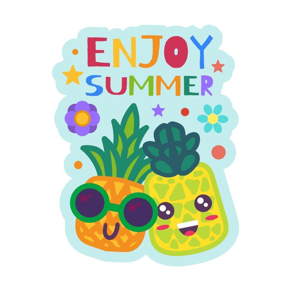 njut av sommarmärket roliga ananas i solglasögon vektor