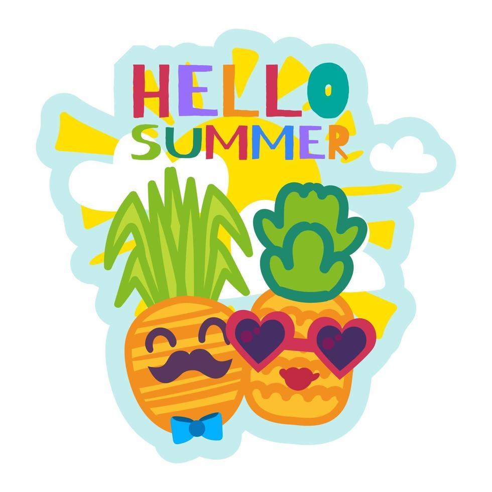 hallo sommeraufkleber mit niedlichen cartoon ananas vektor