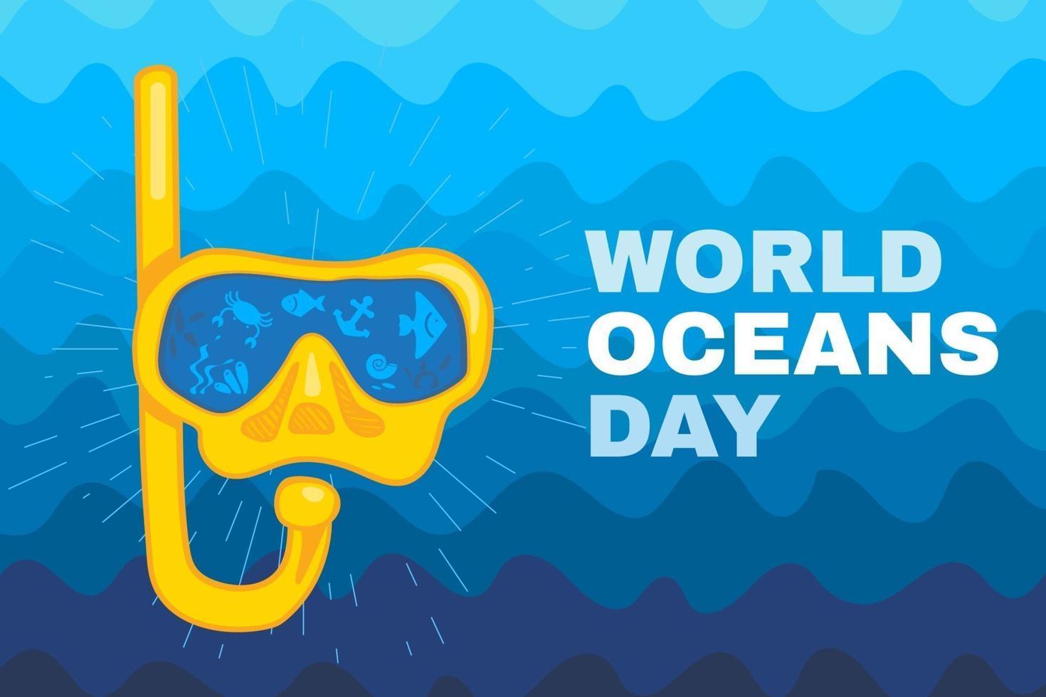 världen ocean dag kort eller affisch mall bakgrund vektor