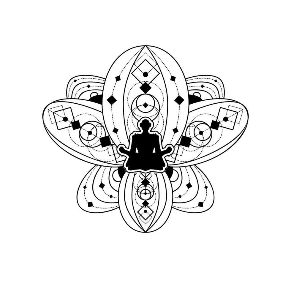 mänsklig siluett med lotusblomma vektor mall