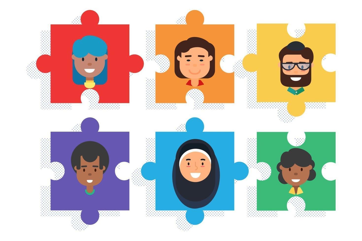 abwechslungsreiches Team für Rätsel, Vielfalt und Teamwork vektor