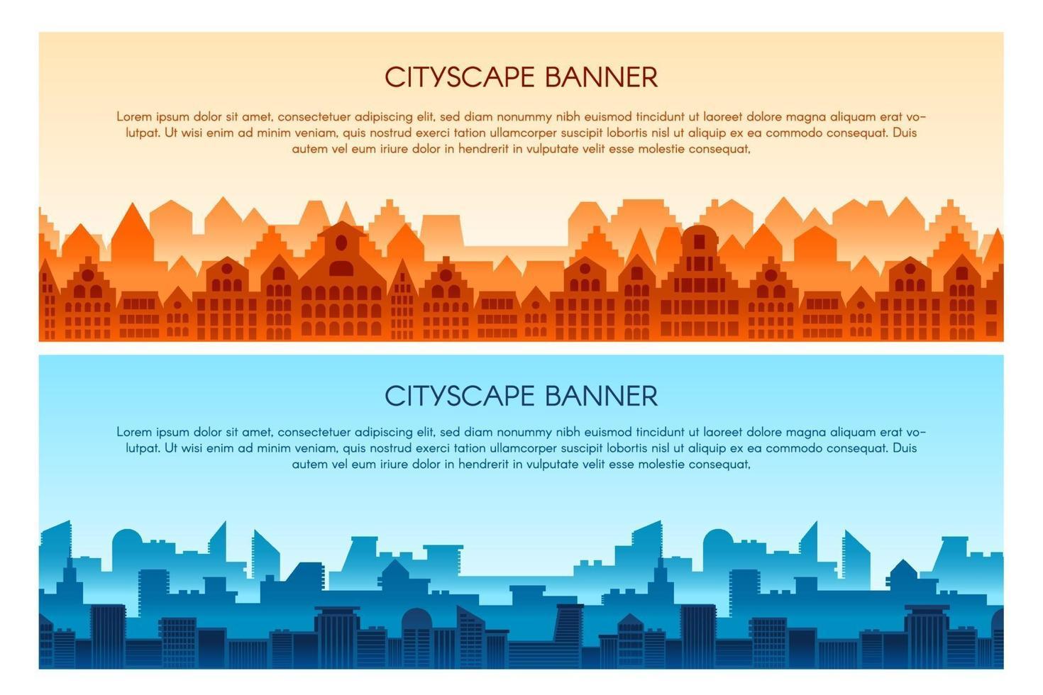 stadsbild platt vektor banner mallar set