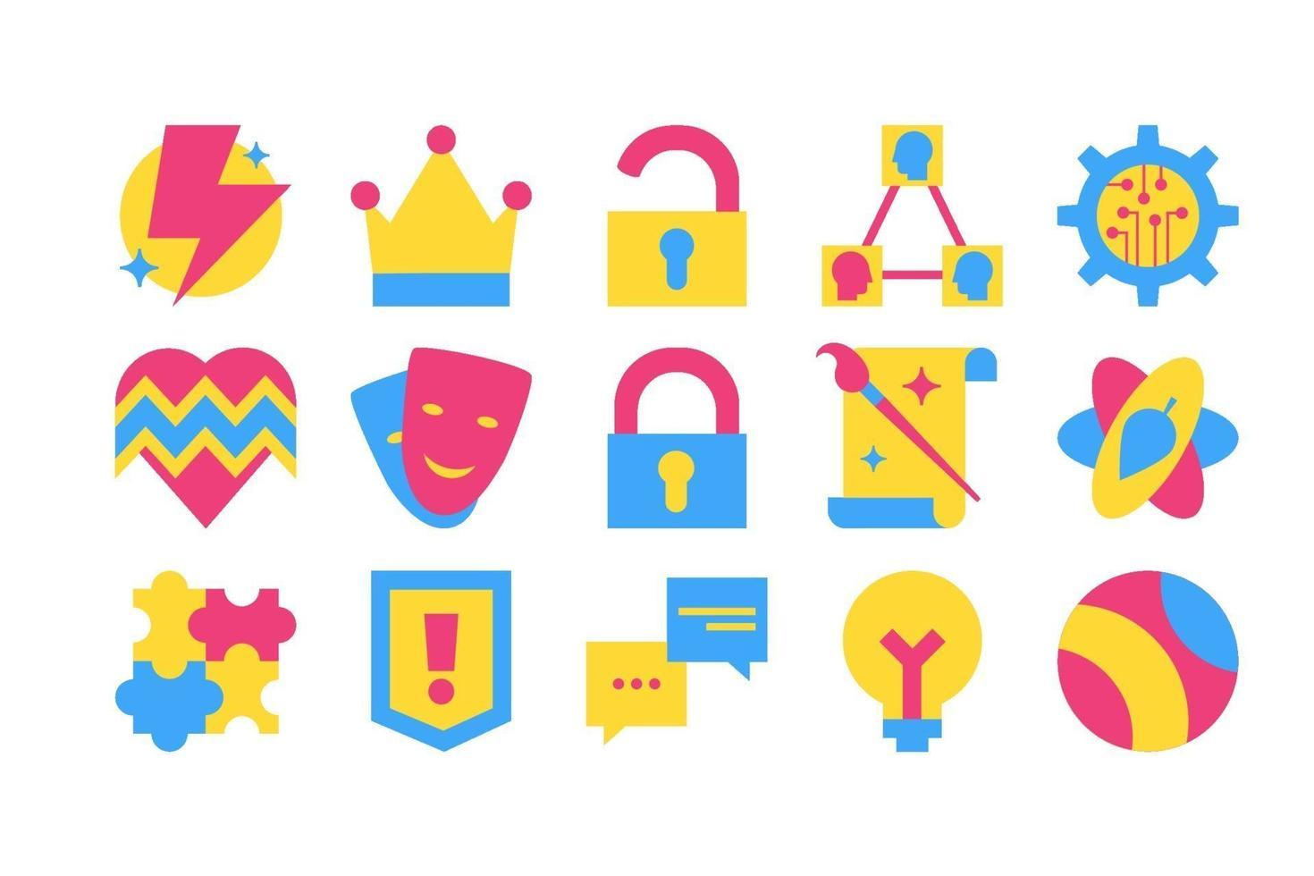 samling av olika kreativa design ikonen vektor