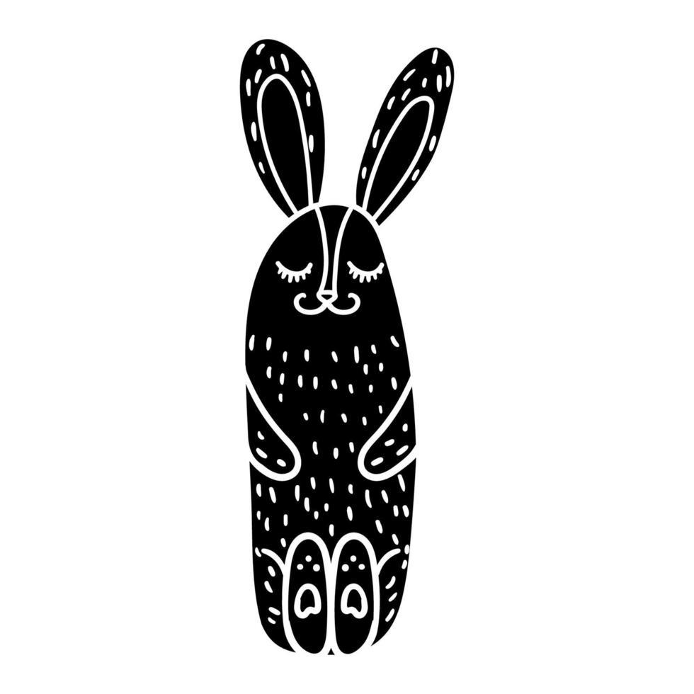 vacker sittande och sovande kanin handritad vektor
