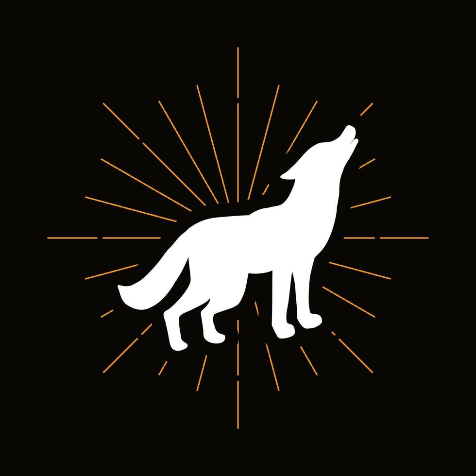 Retro heulende Wolfs-Silhouette vektor