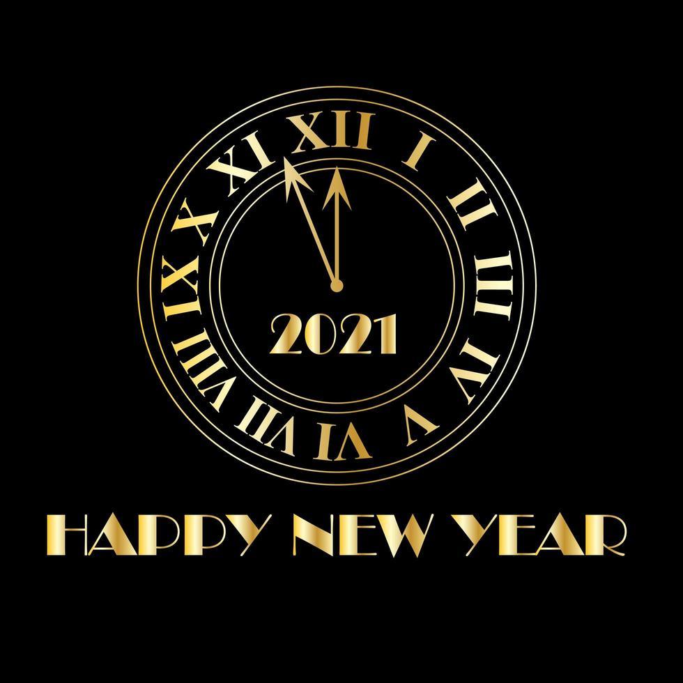 2021 gott nytt år guld deco klocka vektor