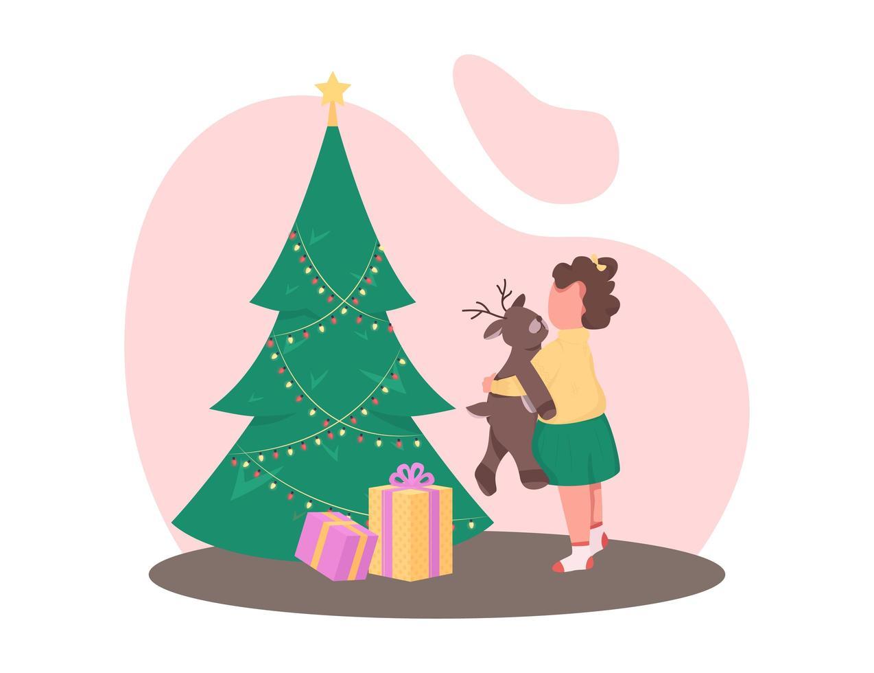 flicka med julgran vektor