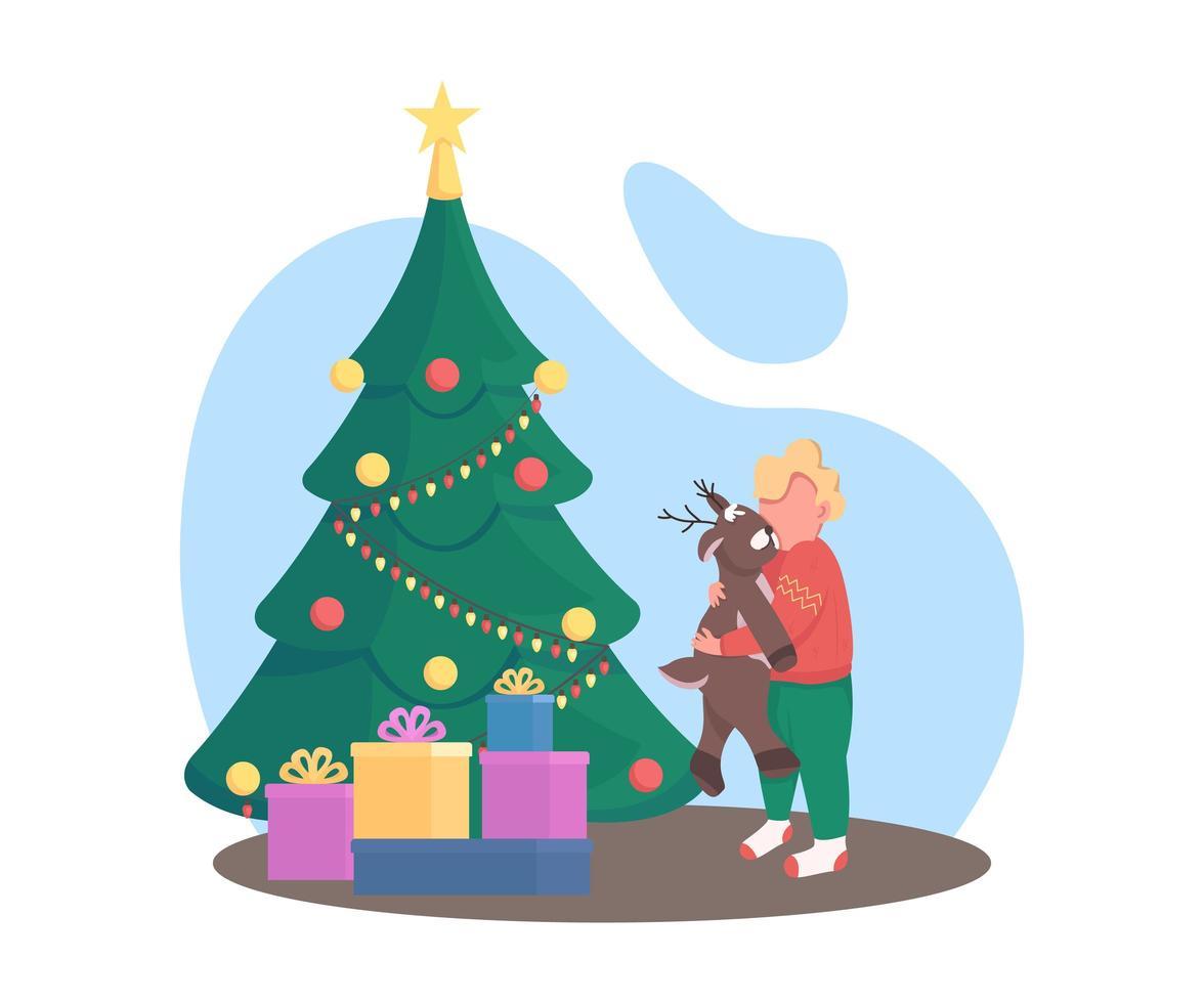 unge med julgran vektor