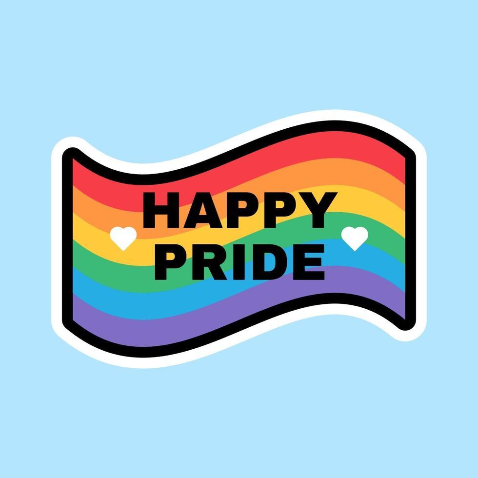glad stolthet månad regnbågsflagg skyltdesign vektor