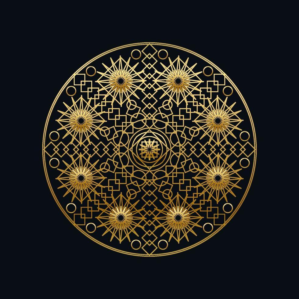 gyllene bläck geometriska mandala linjär vektorillustration vektor
