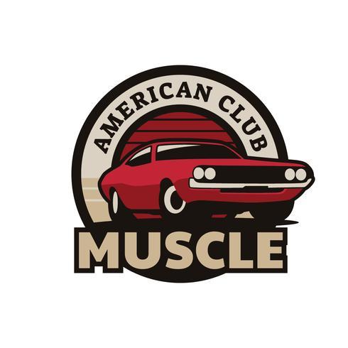 muskelbil klubbmärke vektor