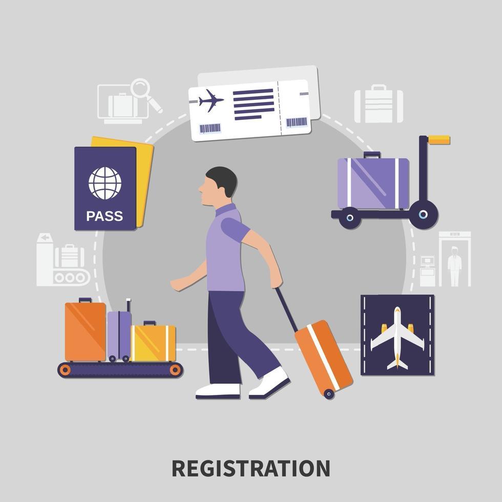 flygplatsregistreringskoncept vektor