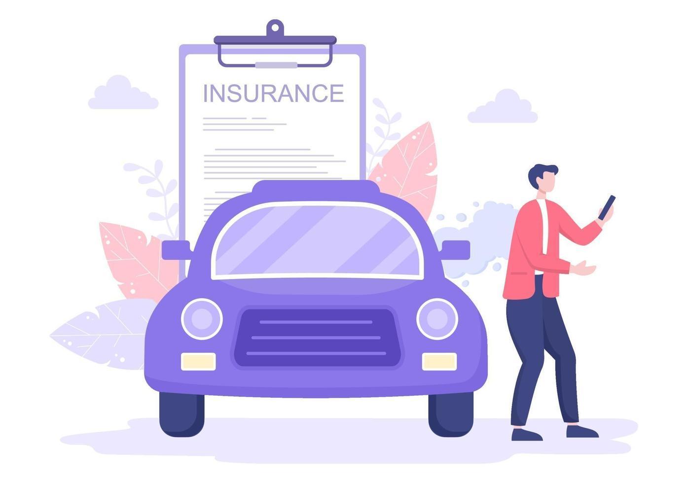 bilförsäkringskonceptet kan användas som skydd för fordonsskador och nödrisker. vektor illustration