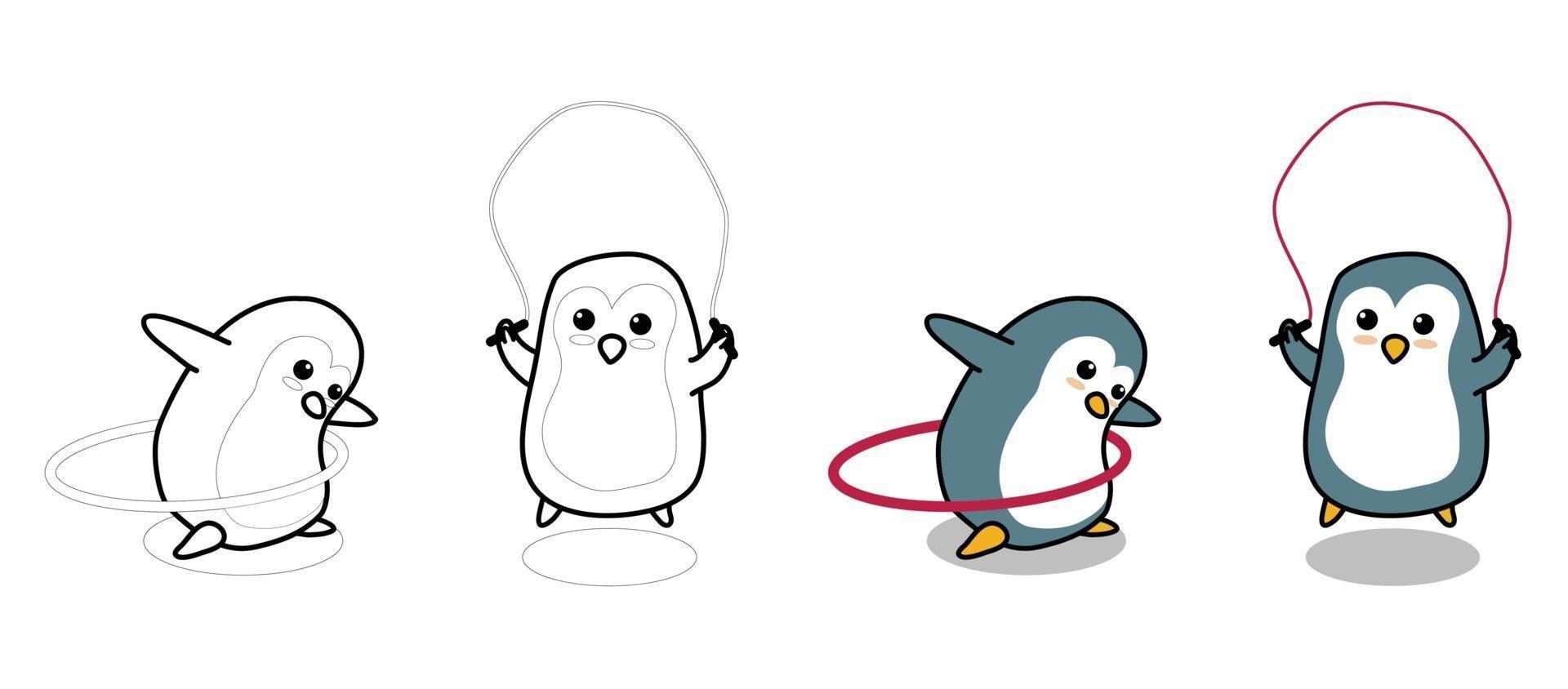 entzückende Pinguine trainieren Cartoon Malvorlagen für Kinder vektor