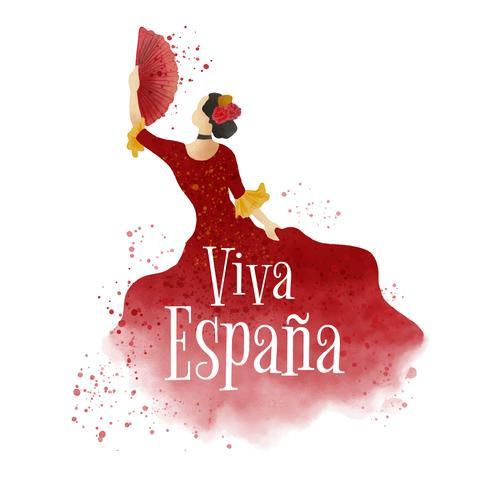 Vattenfärg flamenco dansare vektor