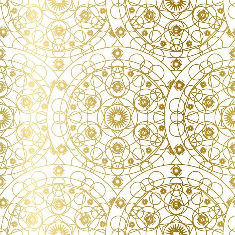 gyllene lyxkonst mandala boho sömlösa mönster vektor