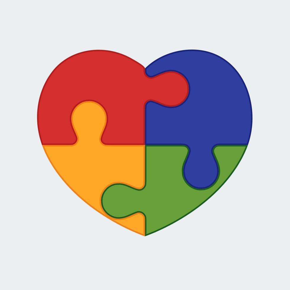 pussel hjärta illustration. emblemet för den mänskliga själens komplexitet. vektor