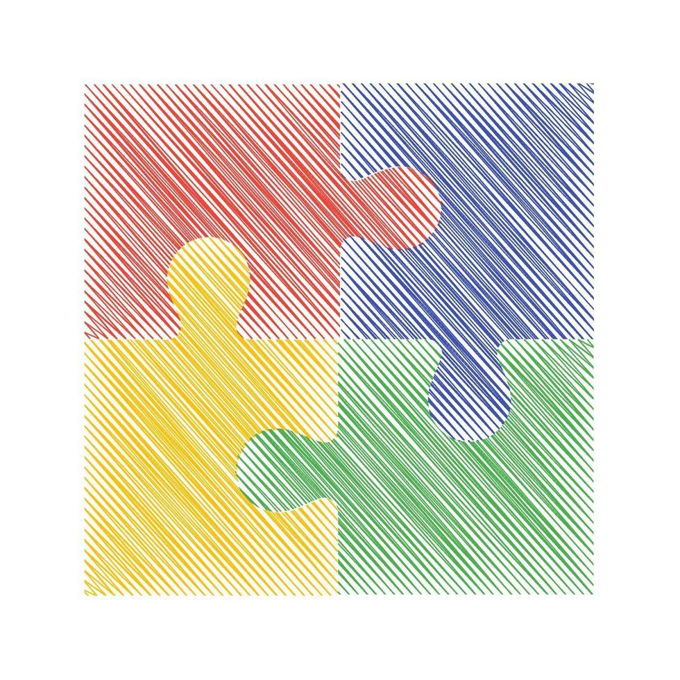 färgglada pussel vektor skiss illustration. eps 10. lämplig för presentationer och diagram.