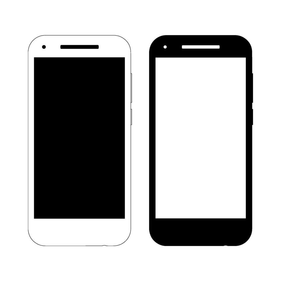 två vektor smartphone mockups. frontvy, svartvita alternativ. lämplig för design av webbsidor, ikoner, banderoller, utskrift. abstrakt modell av en abstrakt tillverkare.