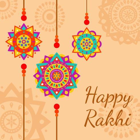 Dekorativer glücklicher Rakhi vektorhintergrund vektor