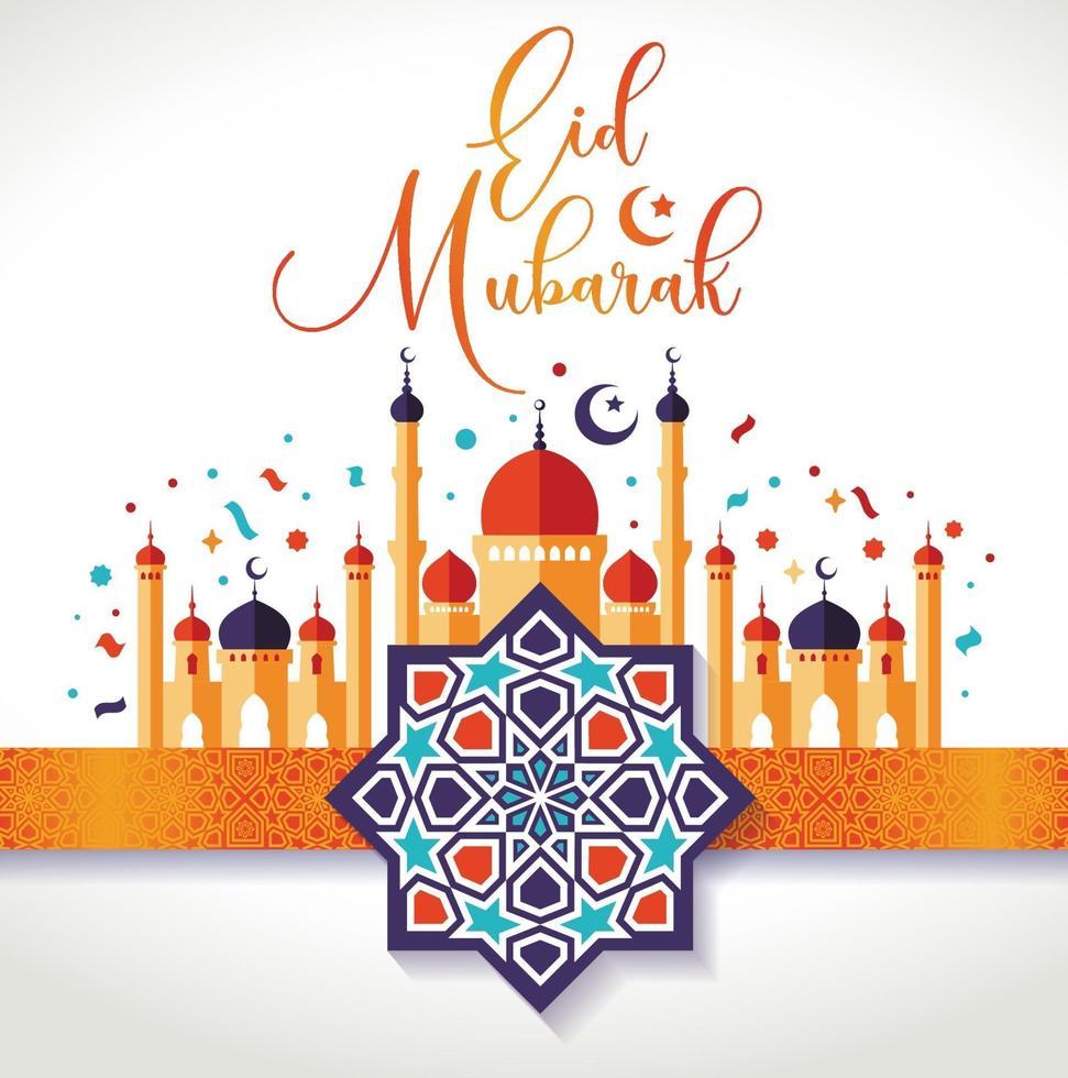 islamisch schöne Designvorlage. Moscheen mit Dekorationsband und arabischen Ornamenten. Ramadan Kareem Grußkarte, Banner, Cover oder Poster. vektor