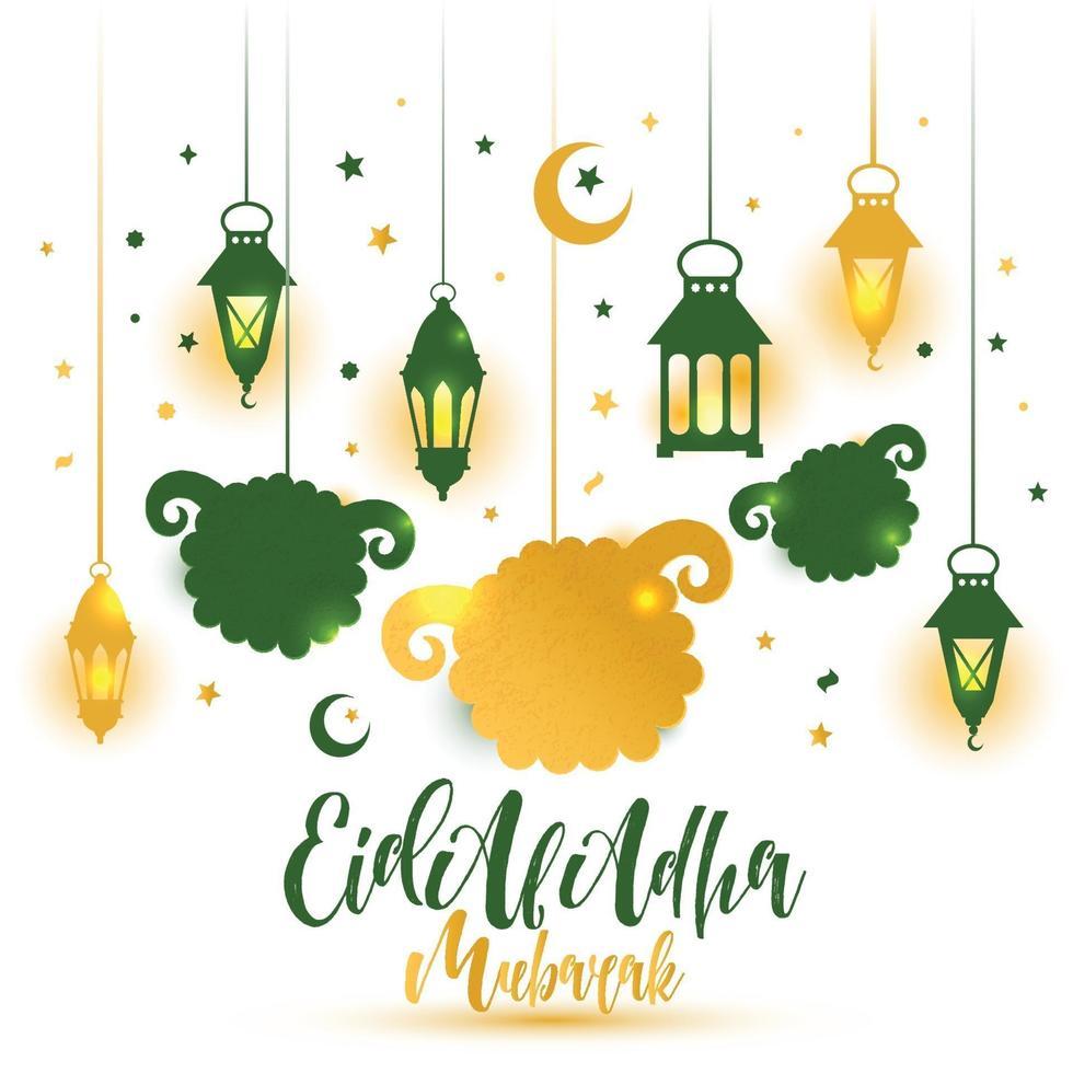 eid al adha kalligrafitekst med fårillustration för eid mubarak firande bakgrund. vektor