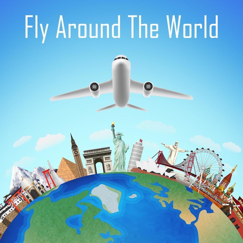 flygplan, flyga runt om i världen med världens landmärken vektor