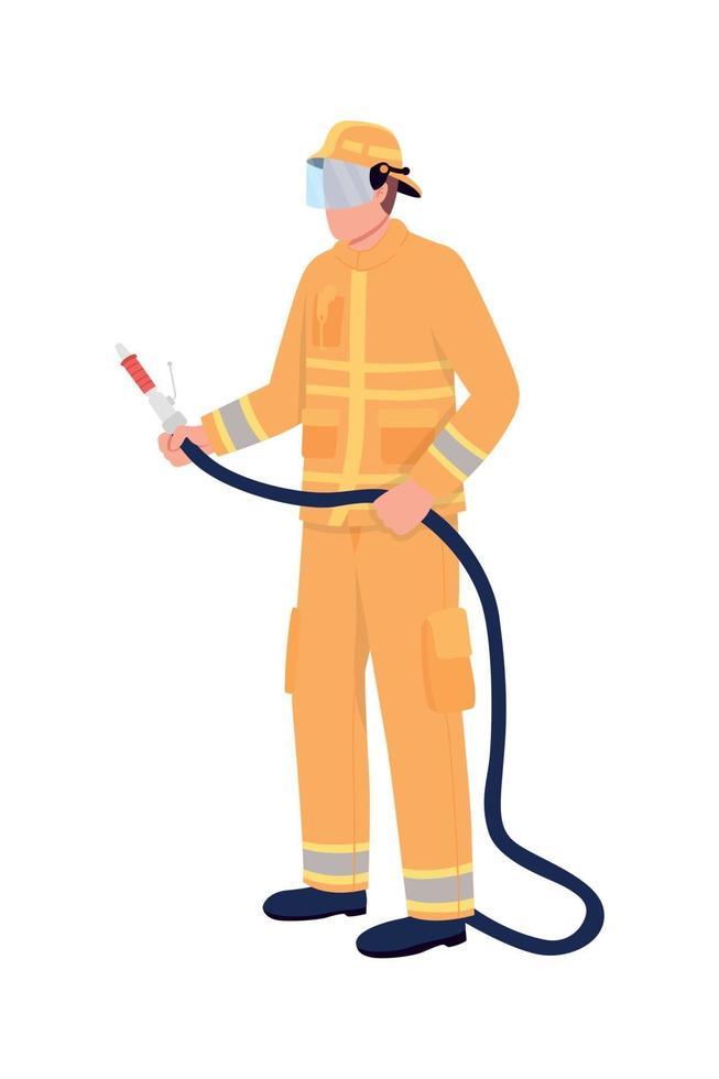 Feuerwehrmann mit schlauchgesichtigem Charakter vektor