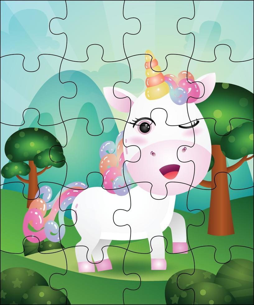 pusselspel illustration för barn med söt enhörning vektor