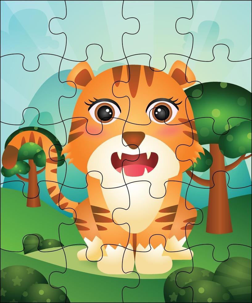 pusselspel illustration för barn med söt tiger vektor