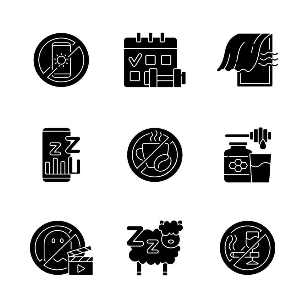 sömnlöshet skäl svart glyph ikoner som på vitt utrymme vektor