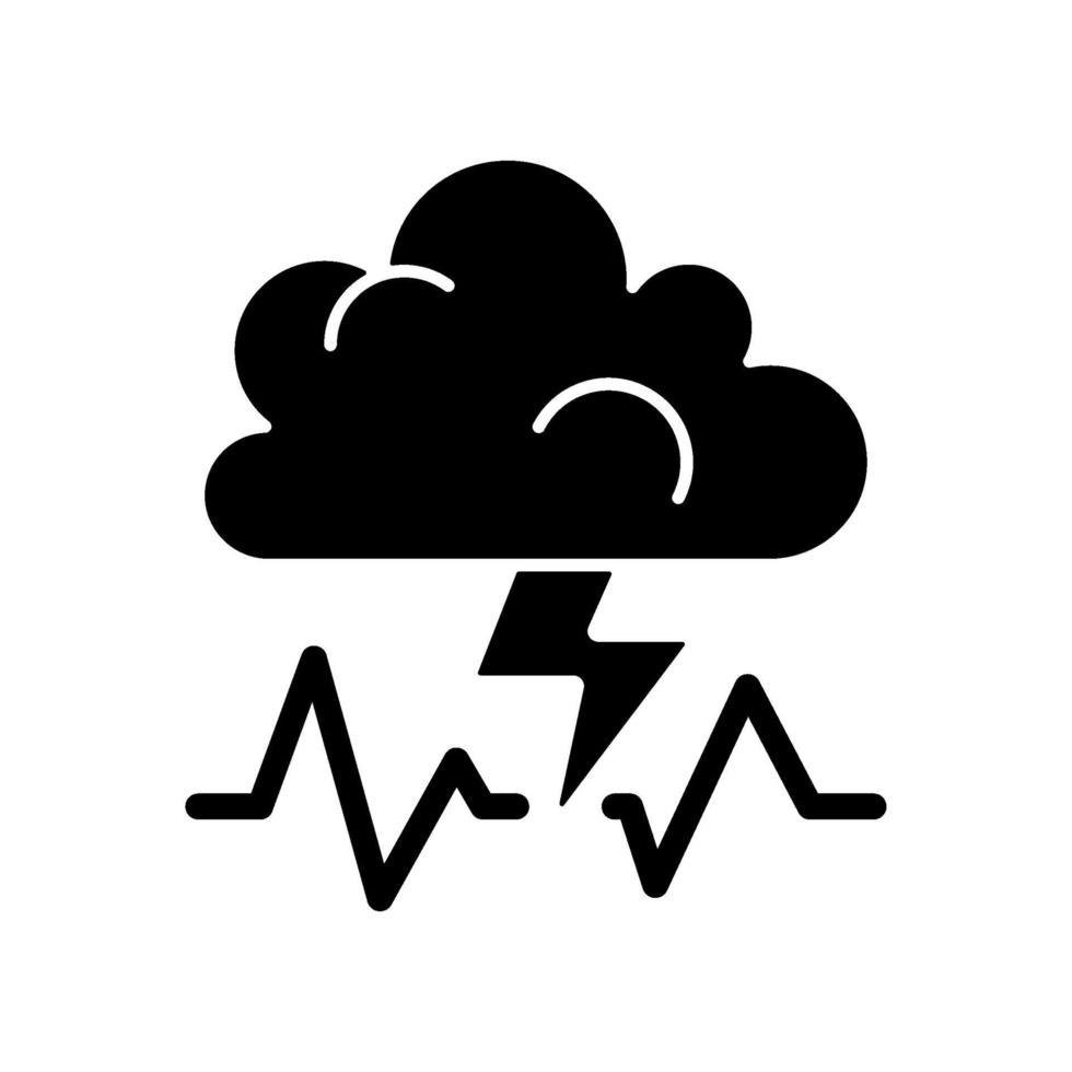 stress svart glyph ikon vektor