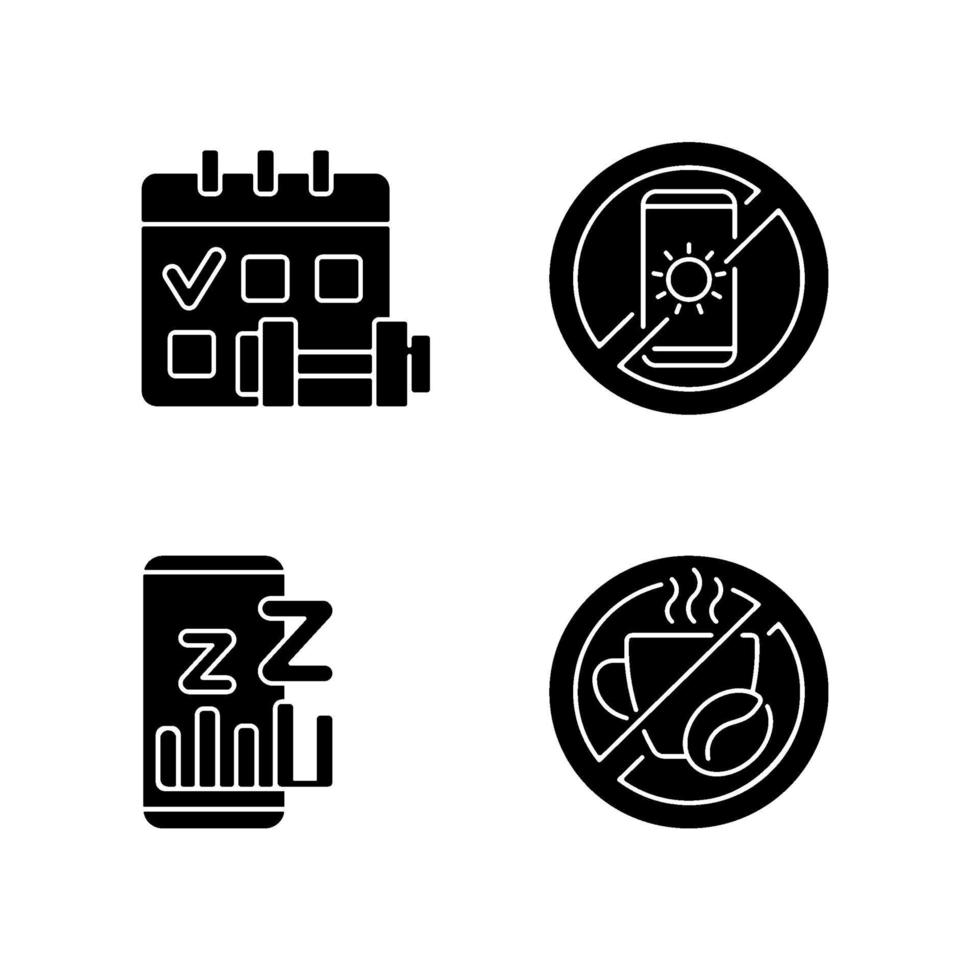 rekommendationer för att förhindra sömnlöshet svarta glyph-ikoner på vitt utrymme vektor