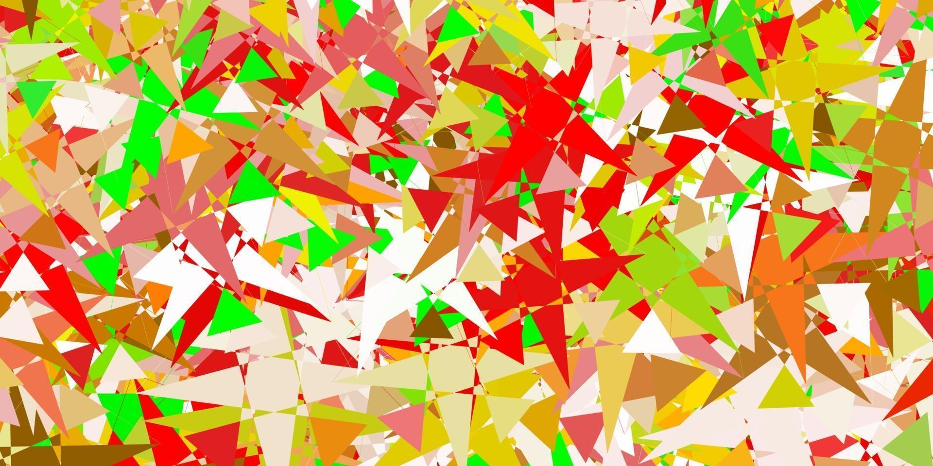 hellrosa, grüne Vektorschablone mit Dreiecksformen. vektor