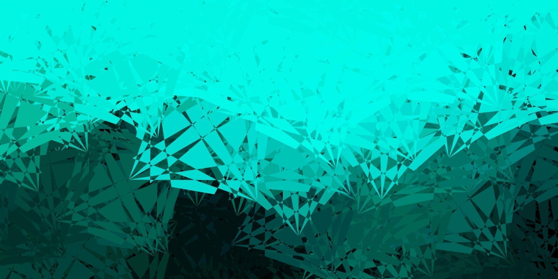 mörkblå, grön vektorbakgrund med månghörniga former. vektor