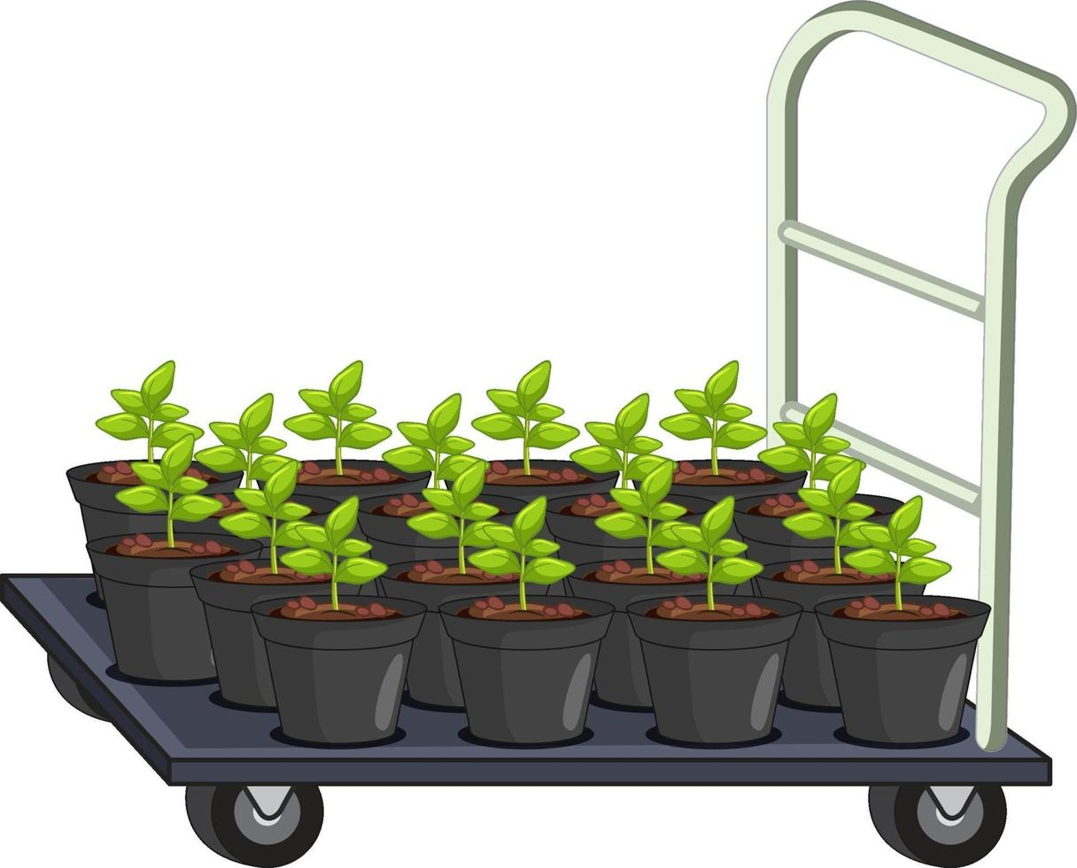 viele Blumentöpfe auf Gartenwagen isoliert vektor