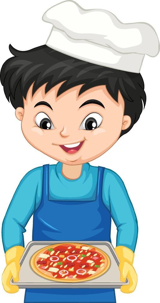 seriefigur av en kockpojke som håller en bricka med pizza vektor