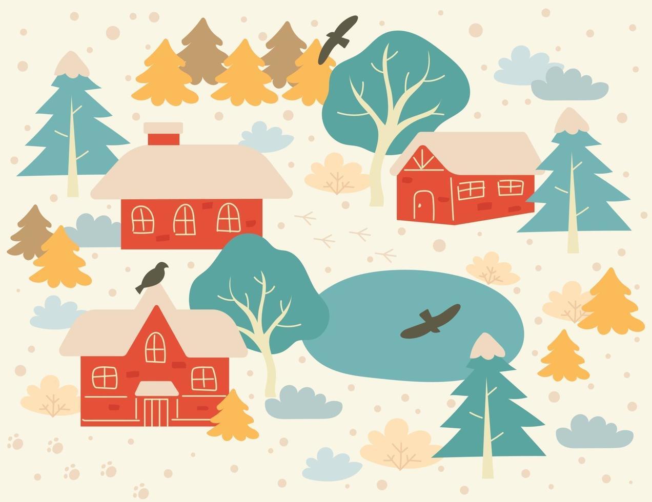 die Landschaft des Dorfes an einem verschneiten Tag. Hand gezeichnete Art Vektor-Design-Illustrationen. vektor