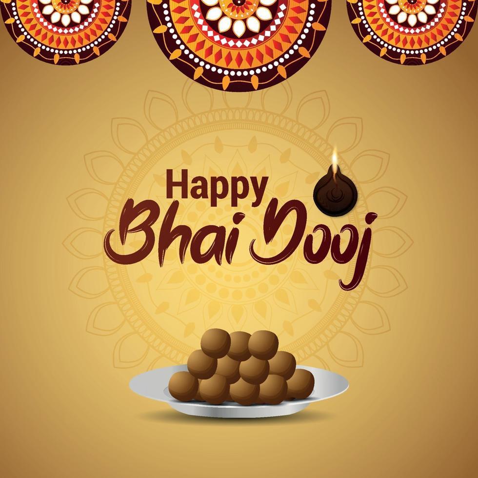 glad bhai dooj firande gratulationskort med kreativ illustration av sötsaker vektor