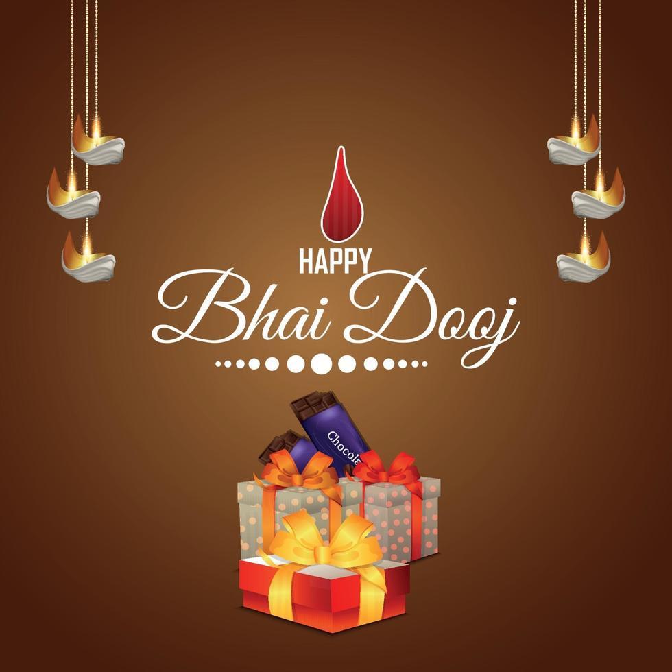 glad bhai dooj indisk festival firande gratulationskort med kreativa gåvor vektor