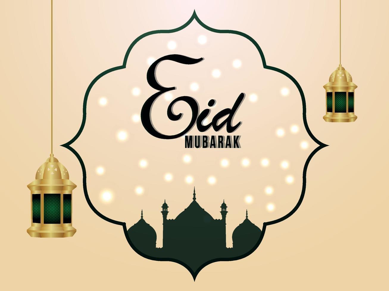 eid mubarak islamisk festival firande gratulationskort vektor